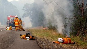 Exhausted Firefighters